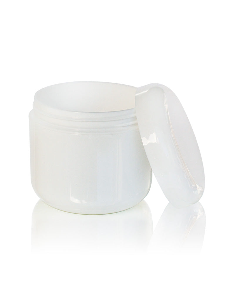 4 oz white double walled PETE plastic cream jar with dome lid