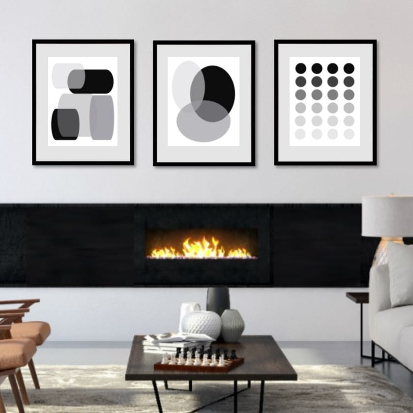 3 piece wall art set in black gray and white 1058