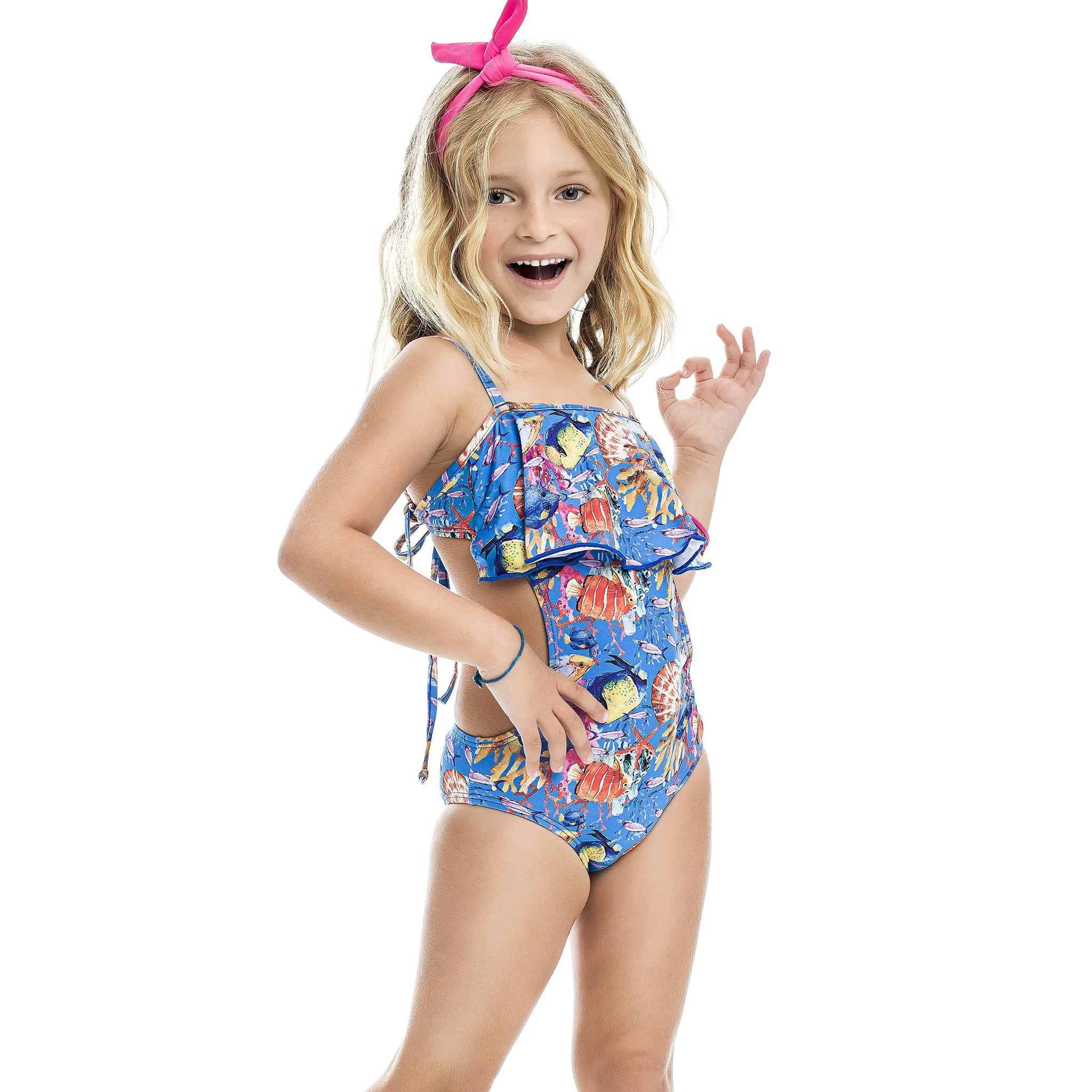 Girl's ocean blue one piece swimsuit UPF 50+ - Diva Brazilian Swimwear Collection