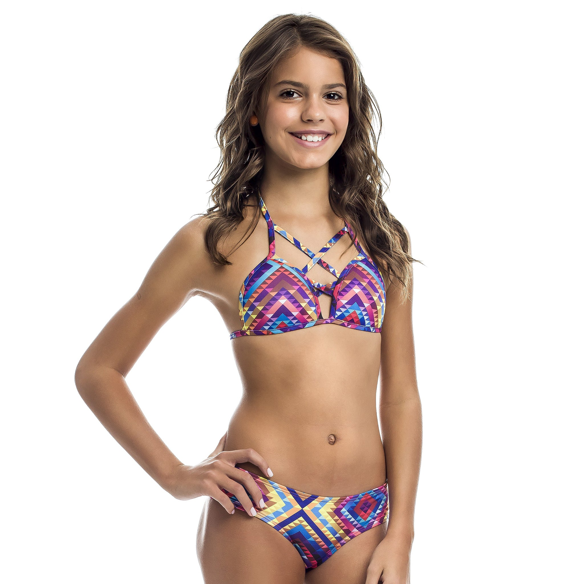 Teen's geometric print bikini set UPF 50+ - Diva Brazilian Swimwear Collection