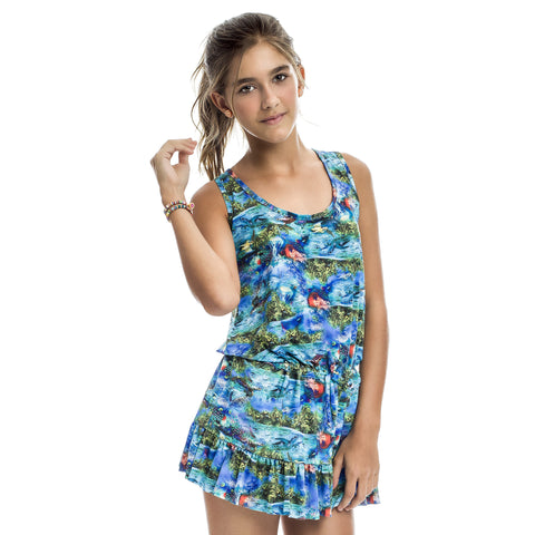 Teen's blue ocean cover up - Diva Brazilian Swimwear Collection