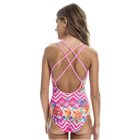 Teen's floral one piece swimsuit UPF 50+ - Diva Brazilian Swimwear Collection