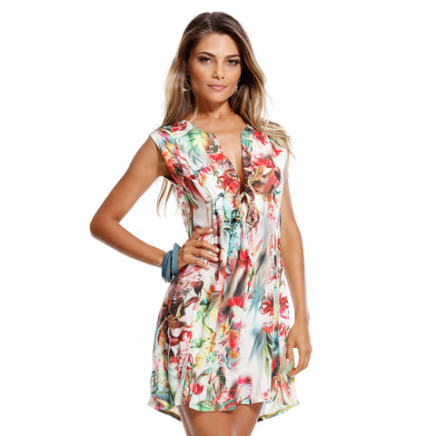 MAR RIO Classic floral beachwear dress - Diva Brazilian Swimwear Collection