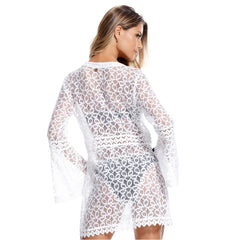 MAR RIO White sheer lace cover up dress - Diva Brazilian Swimwear Collection