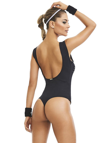 Black sport fitness bodysuit padded - Diva Brazilian Swimwear Collection