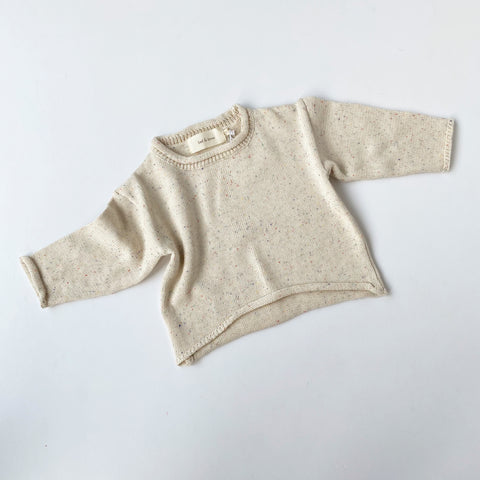 Slouchy Knit Pullover - Speckle Cream
