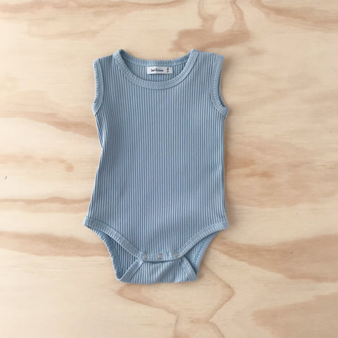 Ribbed Singlet Bodysuit - Duck Egg