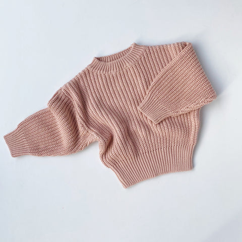 Chunky Knit Pullover - Blush Pink