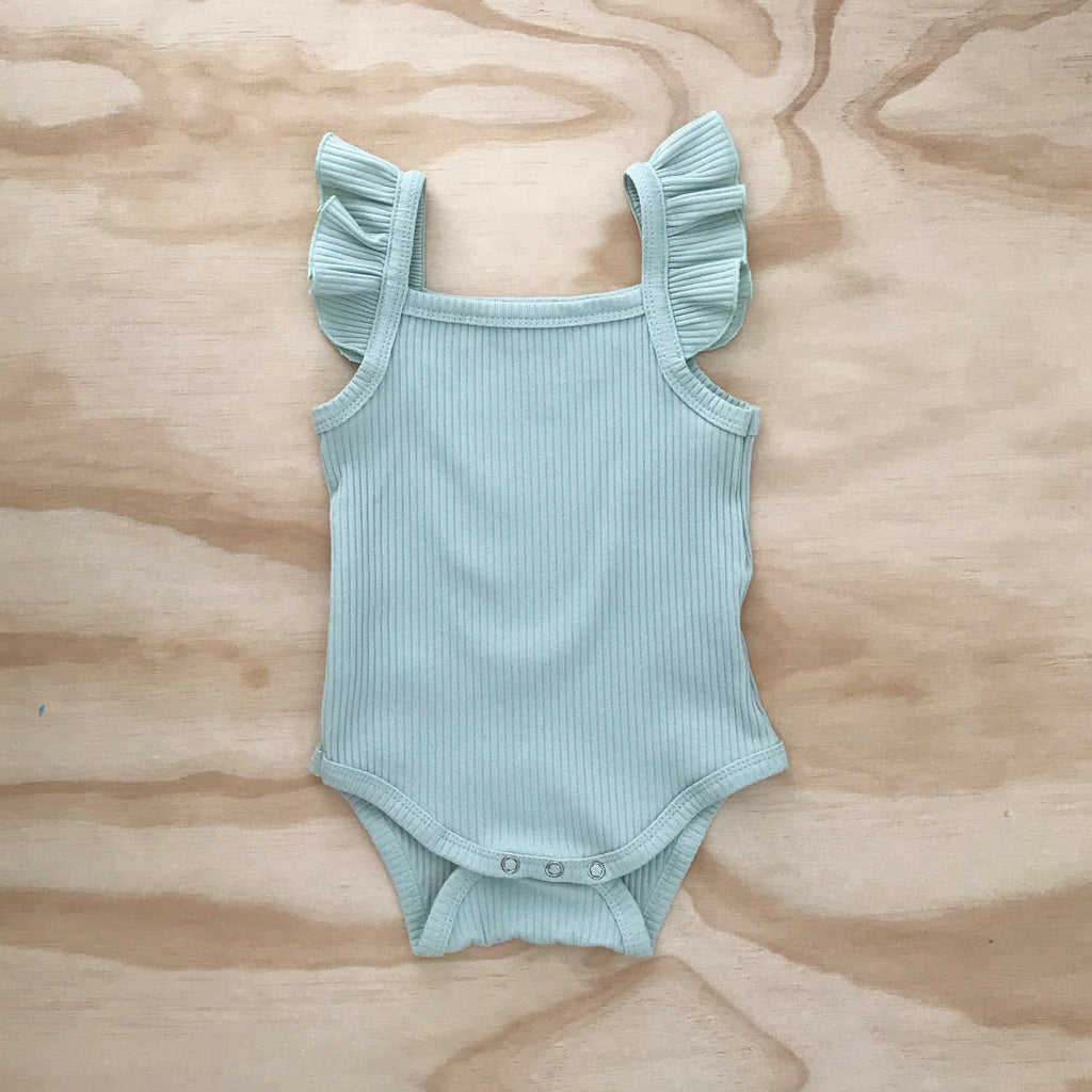 Ribbed Flutter Bodysuit - Mint