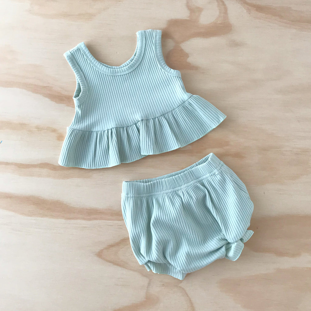 Ribbed Little Peplum Set - Mint