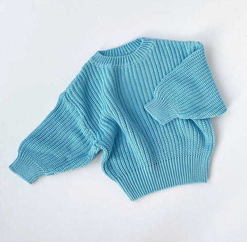 Chunky Knit Pullover - Baby Blue