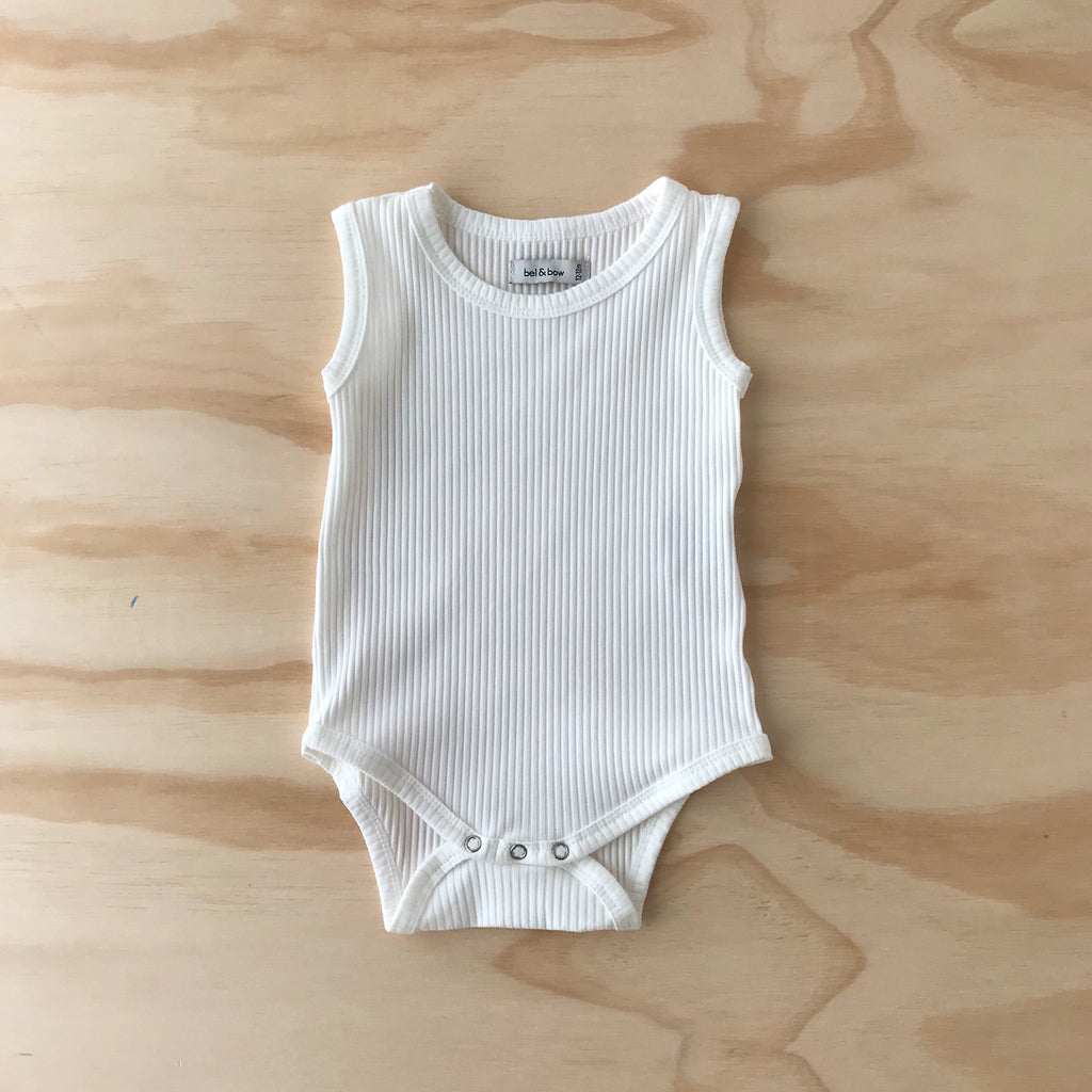 Ribbed Singlet Bodysuit - White