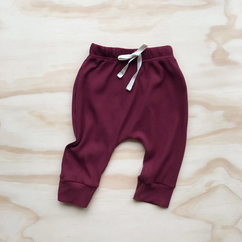 Ribbed Harem Track Pants - Berry