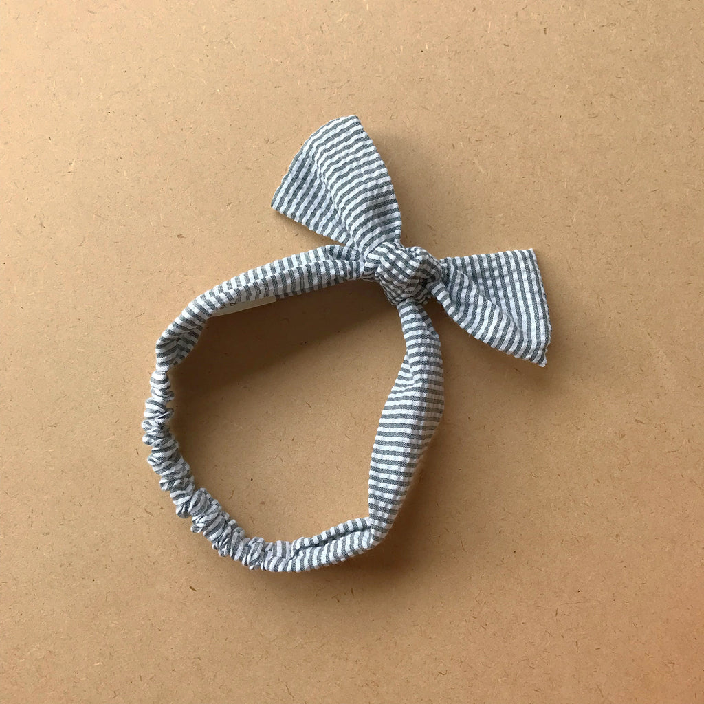Seersucker Topknot - Duck Egg Blue Stripe