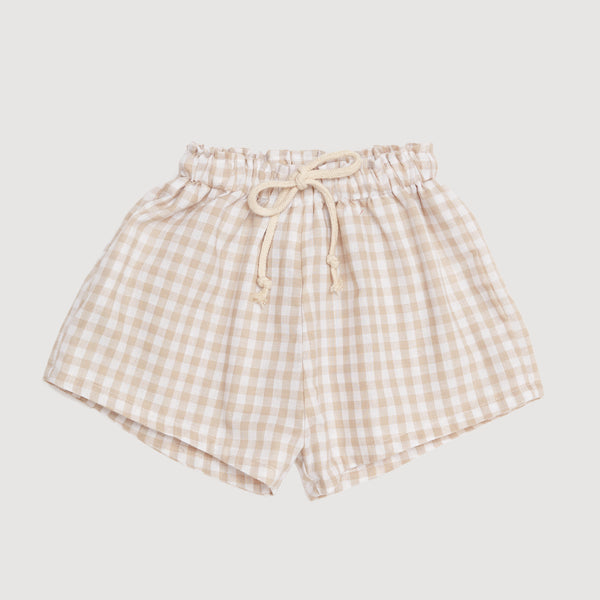 Casual Drawstring Shorts In Natural Gingham