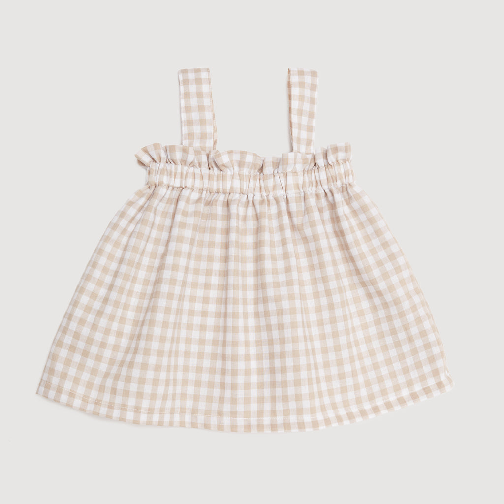 The Holiday Cami Top In Natural Gingham