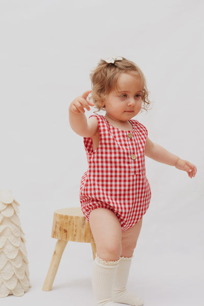 Bubble Romper In Red Gingham