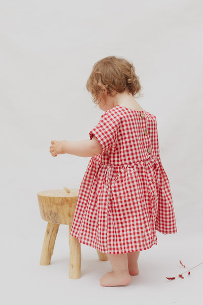 Smock Dress In Red Gingham