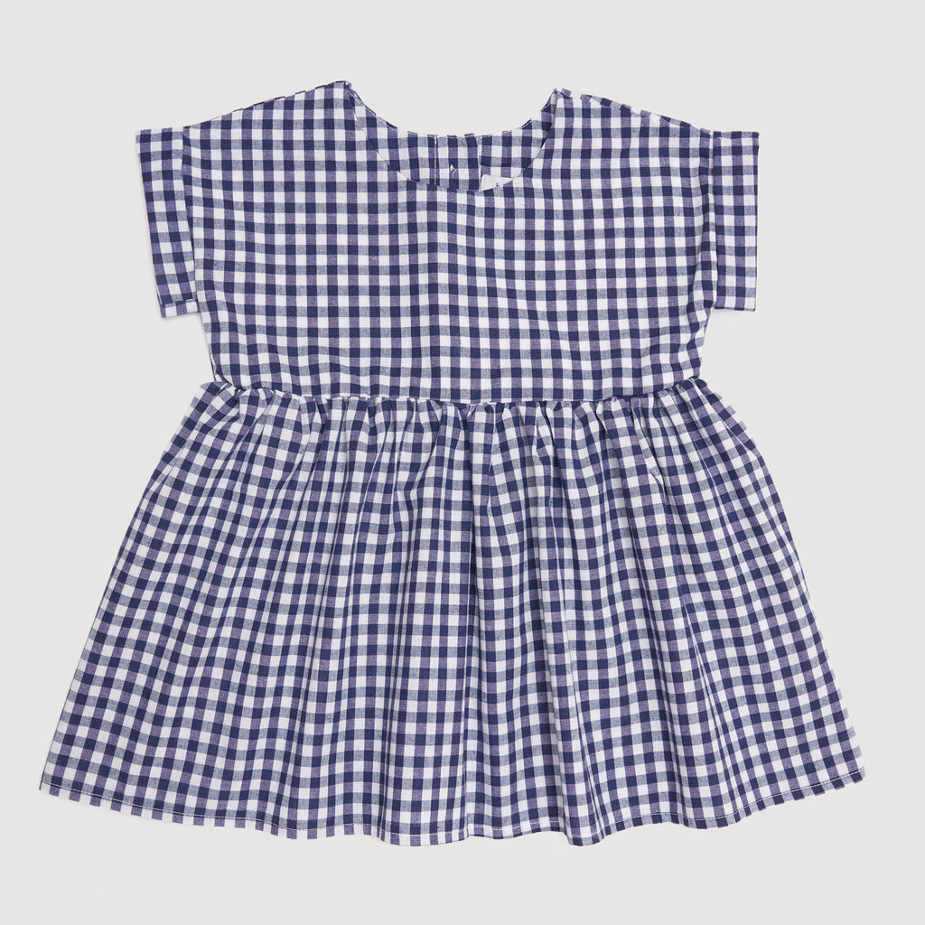 Smock Dress In Navy Gingham