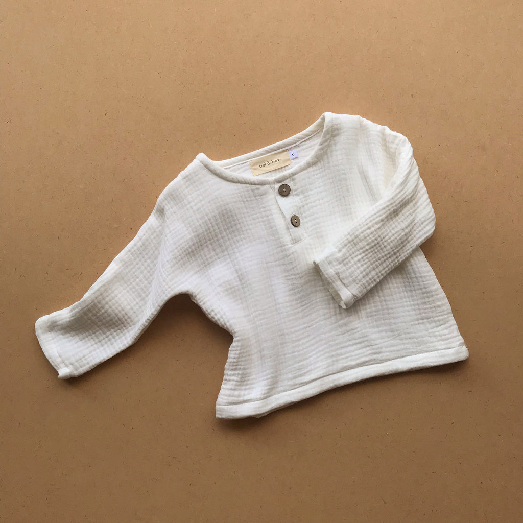 Henley Muslin Top - White