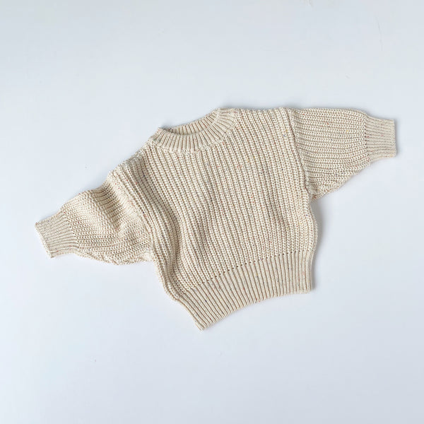 Chunky Knit Pullover - Speckle Cream