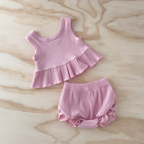 Ribbed Little Peplum Set - Baby Pink