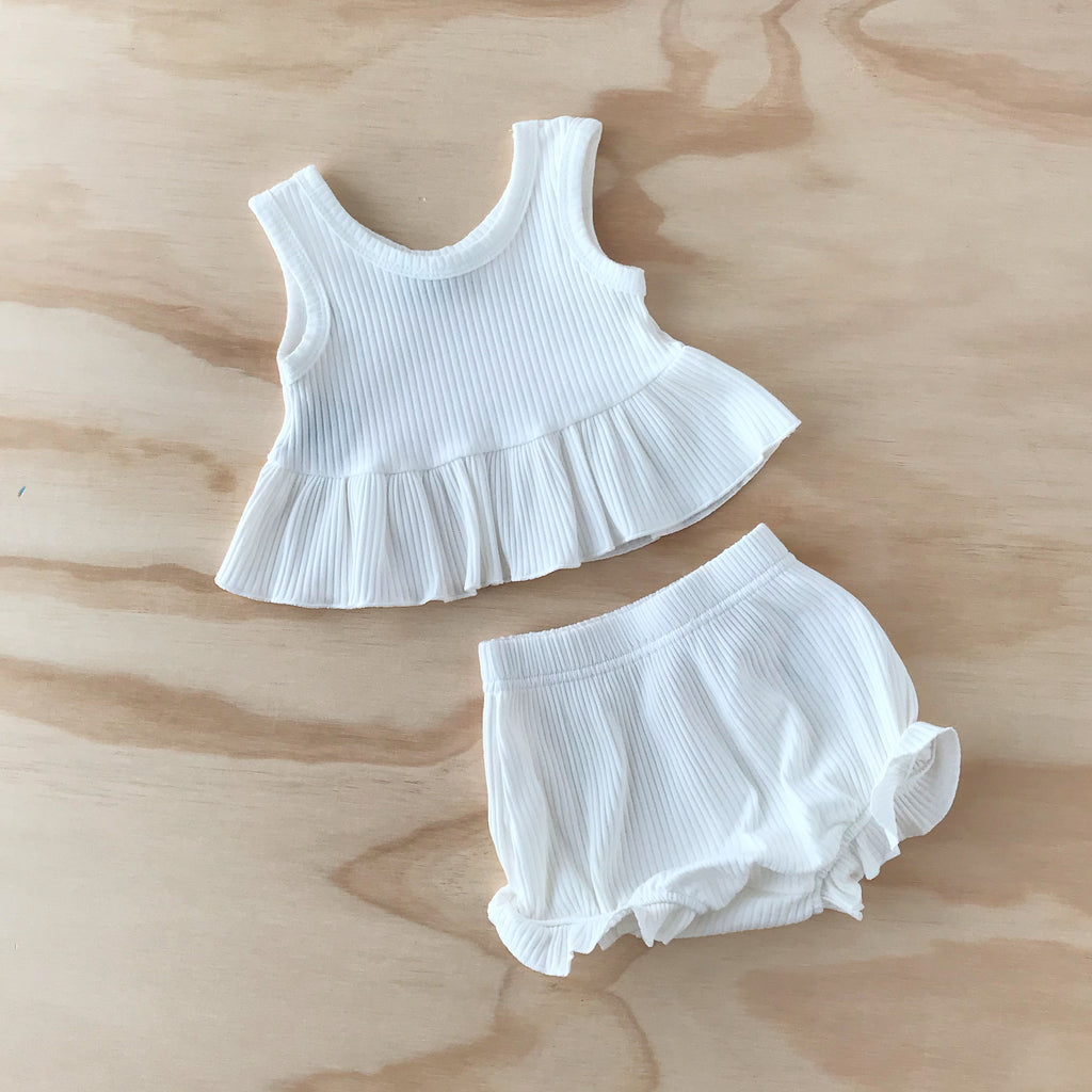 Ribbed Little Peplum Set - White