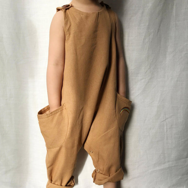 Slouch Pocket Linen Jumpsuit in Light Terracotta