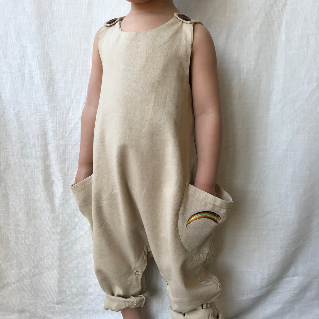 Slouch Pocket Linen Jumpsuit in Warm Stone