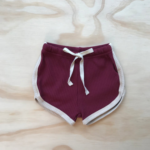 Retro Ribbed Shorts - Berry