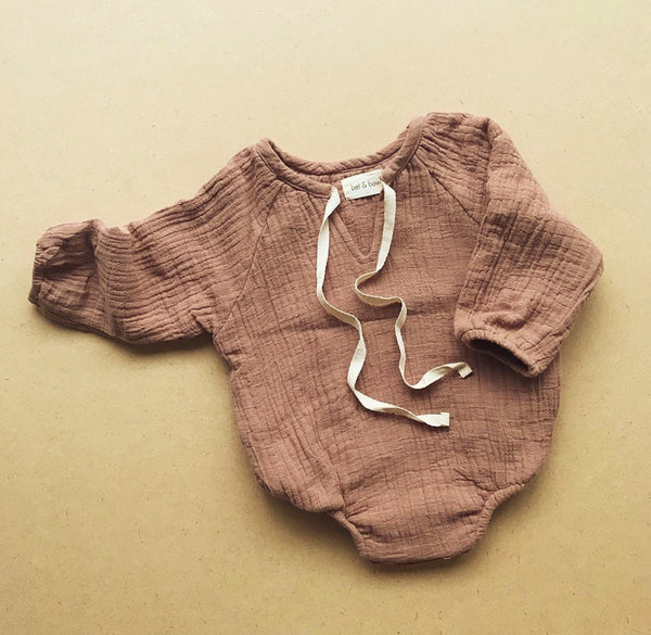 The Classic Raglan Romper In Clay