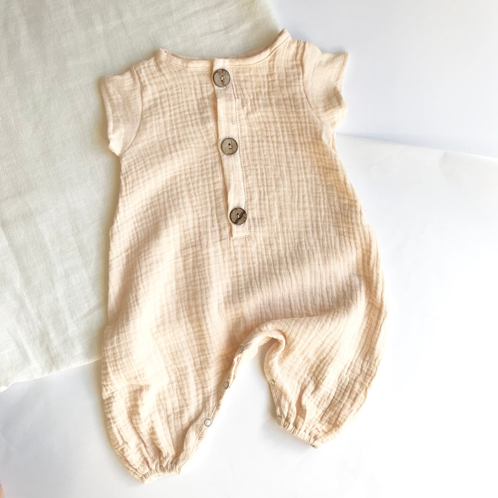 Cotton Muslin Harem Jumpsuit - Almond