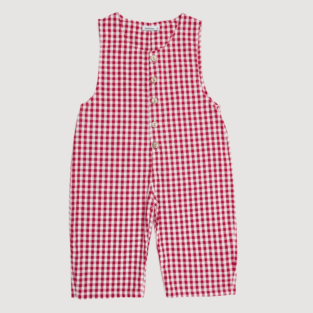 Buttoned Overall In Red Gingham