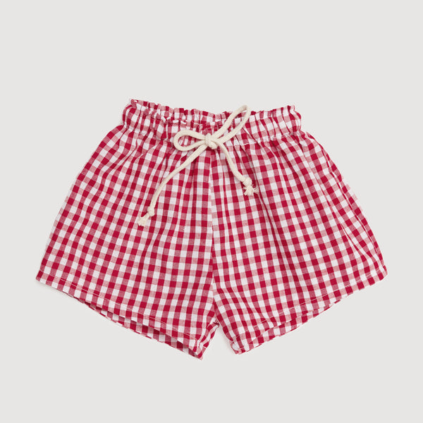Casual Drawstring Shorts In Red Gingham