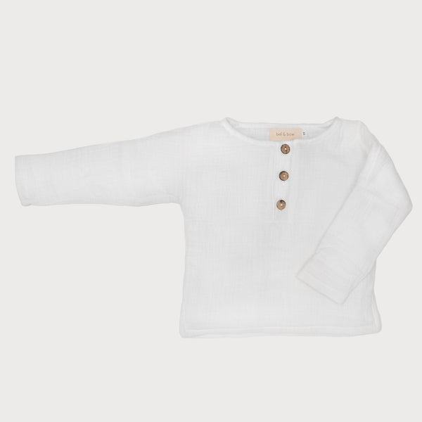 Long Sleeve Textured Cotton Henley Top - White