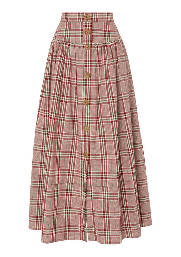 FREYA SKIRT / COTTON CHECK RED