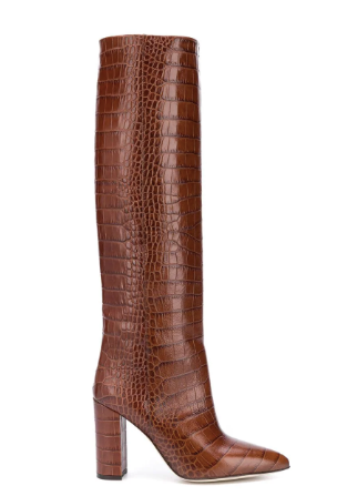 PARIS TEXAS – MOC CROCO TALL BOOT 100 HEEL / BROWNE