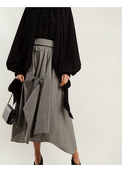 GLEN PLAID SHIRT CULOTTE / GREY