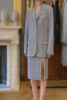AREA - OVERSIZED BLAZER WITH CRYSTAL STITCH TRIM/GREY MELANGE
