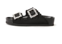 JEWEL BUCKLES FLAT SANDALS-BLACK/MULTI BKL-