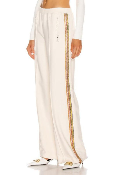 AREA - CRYSTAL STRIPE WIDE LEG TRACKPANT /IVORY