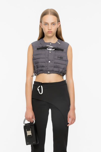 HELIOT EMIL - CROPPED DOWN VEST / GREY
