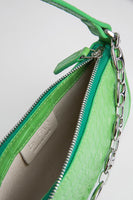 BY FAR - 21RS MINI RACHEL GRASS CIRCULAR CROCO EMBOSSED LEATHER
