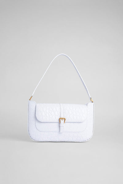 BY FAR -  MIRANDA PURE WHITE CIRCULAR CROCO EMBOSSED LEATHER