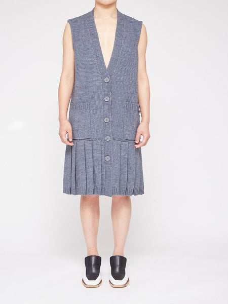 MM6 - KNITTING CARDIGAN DRESS / DARK GREY