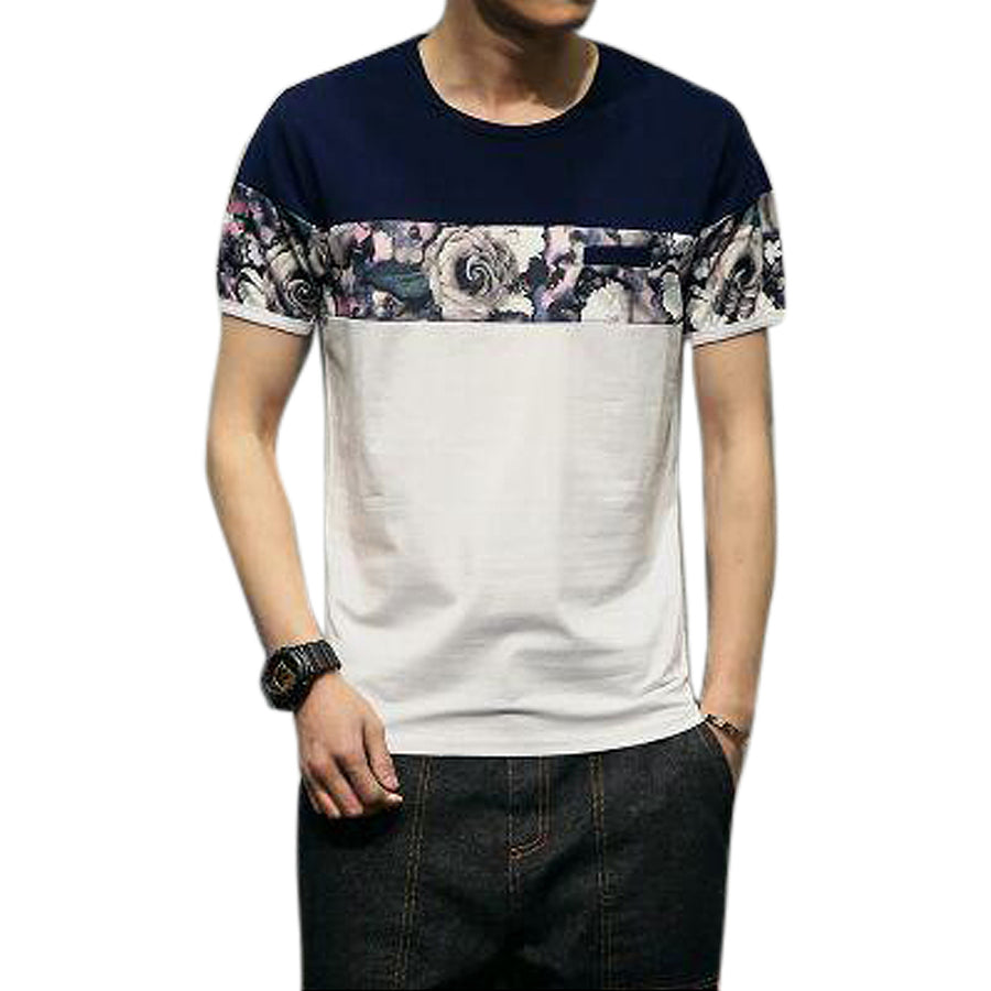 Qijue Summer Male Casual Patchwork Tshirt