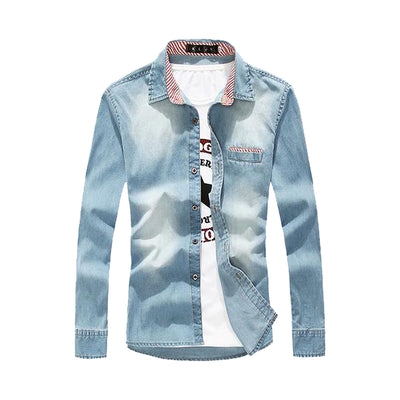 Spring Fashion/ Denim men shirt long sleeve - Slim fit / Water Wash - Lance Donovan