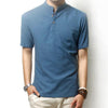 Stand-up Collar Linen t shirts - Lance Donovan