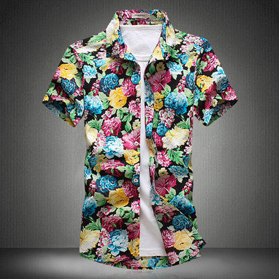 HANQIU Short Sleeved Floral printed  Shirt