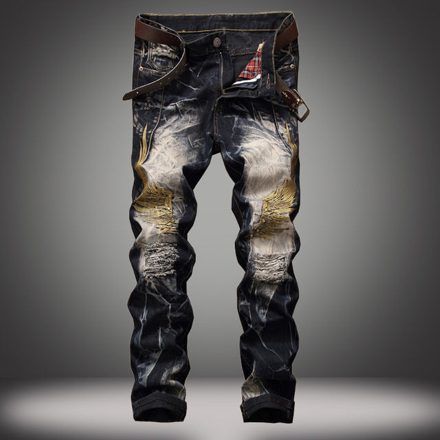 Gothic Style  Hole Destroyed Mens Slim Denim  Biker  Jeans - Lance Donovan